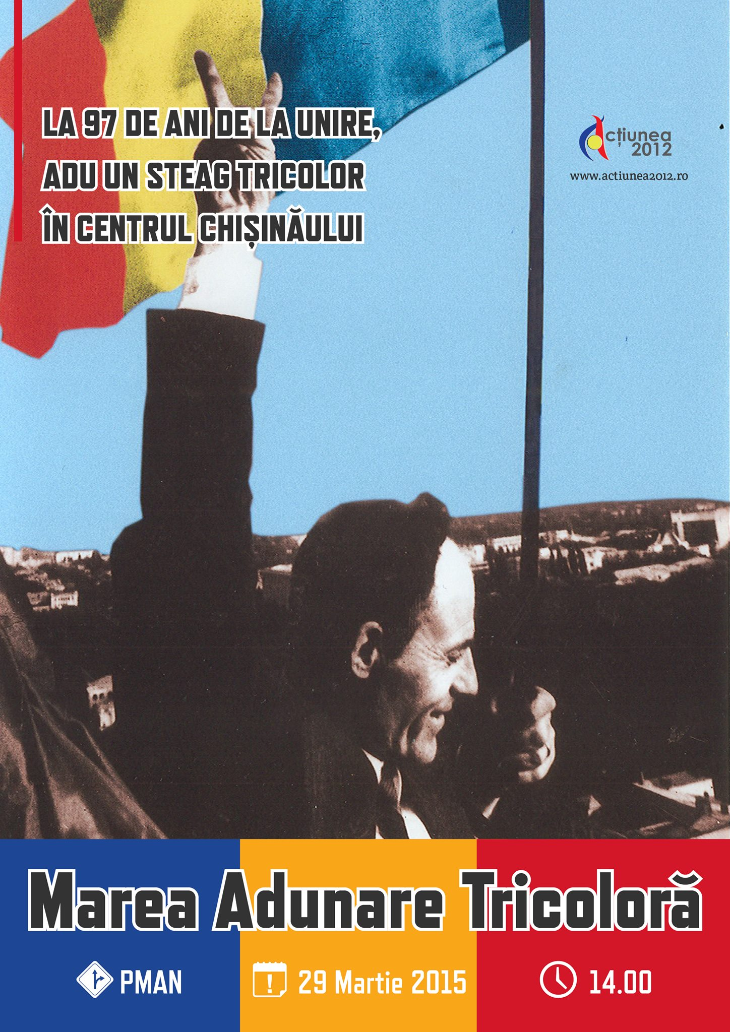 27 martie imagine mars chisinau manifestare steaguri tricolore